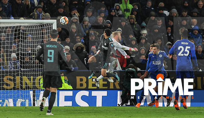 Pedro of Chelsea beats Goalkeeper Kasper Schmeichel of Leicester City to score his sides second goal and make it 2 1 during the FA Cup QF match between Leicester City and Chelsea at the King Power Stadium, Leicester, England on 18 March 2018. Photo by Stephen Buckley / PRiME Media Images.