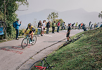 race leader Primoz Roglic (SVK/LottoNL-Jumbo) up the infamous/brutal Muro di Sormano (avg 17%/max 25%)<br /> <br /> 112th Il Lombardia 2018 (ITA)<br /> from Bergamo to Como: 241km