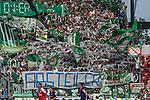 12.05.2018, OPEL Arena, Mainz, GER, 1.FBL, 1. FSV Mainz 05 vs SV Werder Bremen<br /> <br /> im Bild<br /> Werder Bremen Fans feiern den Abstieg von Hamburger SV / HSV in die 2. Liga mit Bannern, Spruchb&auml;ndern, Applaus, Jubel, Pyrotechnik, Gesang, Stadionuhr &quot;Game over !!&quot;, &quot;Absteiger&quot;, <br /> <br /> Foto &copy; nordphoto / Ewert
