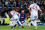 Lionel Andres Messi of FC Barcelona fights for the ball with players of Olympiacos FC during the UEFA Champions League 2017-18 match between FC Barcelona and Olympiacos FC at Camp Nou on 18 October 2017 in Barcelona, Spain. Photo by Vicens Gimenez / Power Sport Images