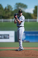 Salt River Rafters starting pitcher Ryan Castellani (38), of the Colorado Rockies organization, gets ready to deliver a pitch during an Arizona Fall League game against the Surprise Saguaros on October 9, 2018 at Surprise Stadium in Surprise, Arizona. The Rafters defeated the Saguaros 10-8. (Zachary Lucy/Four Seam Images)