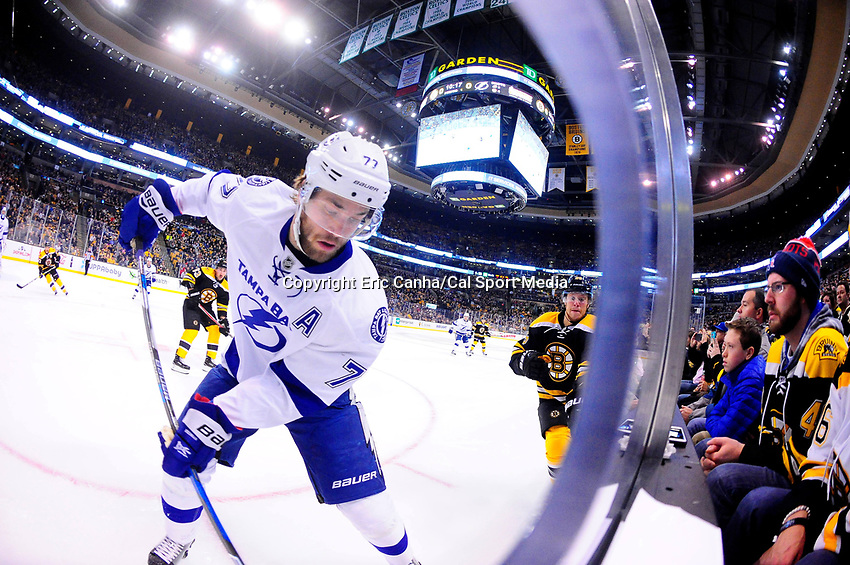 Sunday, November 27, 2016: Tampa Bay Lightning defenseman Victor Hedman (77) in game action during the National Hockey League game between the Tampa Bay Lightning and the Boston Bruins held at TD Garden, in Boston, Mass. Boston defeats Tampa Bay 4-1. Eric Canha/CSM
