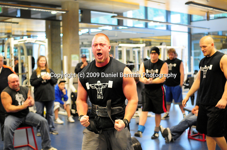 Chris Lee screams after successfully deadlifting 585 pounds in the final portion of the WWU Strongman Club weightlifting competition Saturday November 21, 2009 at the Wade King Recreational Center. The competition featured squat, bench press, and deadlifts. Photo by Daniel Berman/www.bermanphotos.com