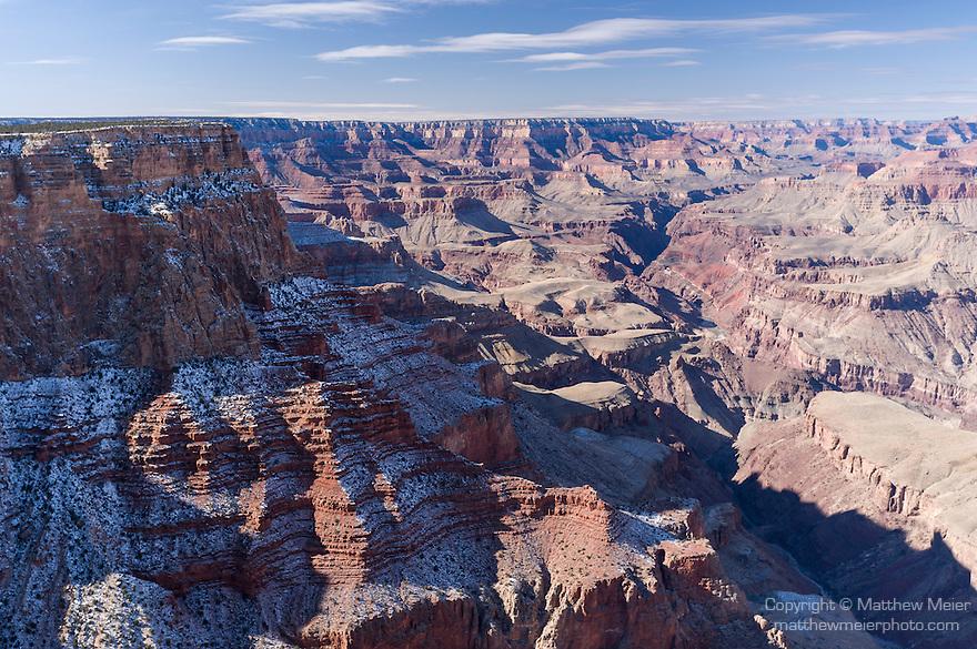 Grand Canyon National Park, South Rim, Arizona; views from Lipan Point, winter, snow, morning