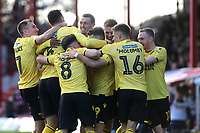 Millwall players congratulate Tom Bradshaw after scoring their opening goal during Brentford vs Millwall, Sky Bet EFL Championship Football at Griffin Park on 19th October 2019