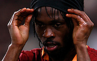 Calcio, quarti di finale di Coppa Italia: Roma vs Juventus. Roma, stadio Olimpico, 21 gennaio 2014.<br /> AS Roma forward Gervinho, of Ivory Coast, celebrates after scoring during the Italian Cup round of eight final football match between AS Roma and Juventus, at Rome's Olympic stadium, 21 January 2014.<br /> UPDATE IMAGES PRESS/Isabella Bonotto