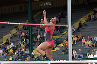 Northern Illinois University freshman Claudette Day, who graduated a semester early to enroll and compete at NIU, tries to clear the bar in the high jump at the 2014 NCAA Division I Outdoor Track & Field Championships, in Eugene, Or. Saturday, June 14. Day was one of four women unable to clear the opening height of 5-7.75, to tie for 21st. Day joins Robert Griffin the Third and Will Claye as other recent early-enrollees to qualify for the national meet as high school seniors.