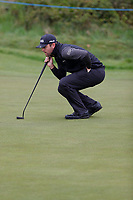 Liam Johnston lines up his putt during the first day at the Betfred British Masters, Hillside Golf Club, Lancashire, England. 09/05/2019.<br /> Picture David Kissman / Golffile.ie<br /> <br /> All photo usage must carry mandatory copyright credit (© Golffile | David Kissman)