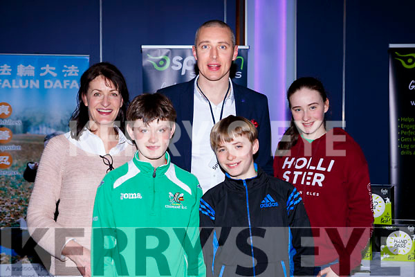 Kerry footballers Kieran Donaghy with Breda Regan-Hayes, Conor, Liam and Caragh Hayes  at the balance senimar in the INEC on Sunday