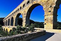 Historic Pont du Gard, a Roman Aqueduct, spanning the Gard River, France