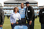 CHAPEL HILL, NC - NOVEMBER 18: UNC's Devin Perry was honored as part of Senior Day pregame activities. The University of North Carolina Tar Heels hosted the Western Carolina University Catamounts on November 18, 2017 at Kenan Memorial Stadium in Chapel Hill, NC in a Division I College Football game. UNC won the game 65-10.