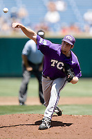 TCU pitcher Paul Gerrish in Game 13 of the NCAA Division One Men's College World Series on June 26th, 2010 at Johnny Rosenblatt Stadium in Omaha, Nebraska.  (Photo by Andrew Woolley / Four Seam Images)
