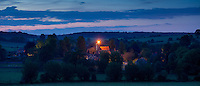 Beacon lit on church tower of St Mary's Church to celebrate Queen's Diamond Jubilee at Swinbrook in The Cotswolds, UK