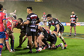 Malgene Ilaua prepares to pack down at No 8 in a scrum as Liam Daniela waits for the forwards to engage. Mitre 10 Cup rugby game between Counties Manukau Steelers and Tasman Mako, played at Navigation Homes Stadium Pukekohe on Friday September 6th 2019. Tasman won the game 36 - 0 after leading 24 - 0 at halftime.<br /> Photo by Richard Spranger.