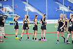 The Hague, Netherlands, June 02: Players of New Zealand warm up before the field hockey group match (Group A) between Korea and New Zealand´s Black Sticks on June 2, 2014 during the World Cup 2014 at GreenFields Stadium in The Hague, Netherlands. Final score 1:0 (1:0) (Photo by Dirk Markgraf / www.265-images.com) *** Local caption ***