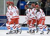 Patrick MacGregor (BU - 4), Garrett Noonan (BU - 13), Sahir Gill (BU - 28), Evan Rodrigues (BU - 26), Matt Nieto (BU - 17) - The Boston University Terriers defeated the visiting Providence College Friars 6-1 on Friday, January 20, 2012, at Agganis Arena in Boston, Massachusetts.