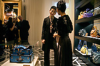 Mrs. Sung-Joo Kim shows film actress Joan Chen around at the opening of the new MCM Shanghai flagship store on the Bund in Shanghai, China, on Tues., Jan 26, 2010.  Joan Chen was one of the first Chinese actors in Hollywood and has acted in films such as Tai Pan, The Last ?mperor, and Lust/Caution.  A glamorous fashion line in the 1980s, South Korean billionaire Sung-Joo Kim has purchased the MCM luxury brand in hopes of reinvigorating the brand.  Now Sung-Joo Kim is trying to replicate the brand's Asian success in Western markets, part of a greater shift of Asian luxury brands being exported to American and European high streets.  The MCM Shanghai flagship store, located on the world-famous Bund in Shanghai, was opened on Tues., Jan. 26, 2010...CREDIT: M. Scott Brauer for the Wall Street Journal