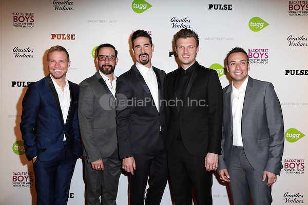 "HOLLYWOOD, CA - A.J. McLean, Nick Carter, Brian Littrell, Kevin Richardson, Howie Dorough at the Backstreet Boys ""Show 'Em What You're Made Of"" Premiere at the Arclight in Hollywood, CA  on January 29, 2015. Credit: David Edwards/DailyCeleb/MediaPunch"