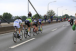 The breakaway group Yoann Offredo (FRA) Wanty-Groupe Gobert, Thomas Boudat (FRA) Direct Energie, Taylor Phinney (USA) Cannondale Drapac and Laurent Pichon (FRA) Fortuneo-Oscaro cross Theodor-Heuss-Bridge over the River Rhine during Stage 2 of the 104th edition of the Tour de France 2017, running 203.5km from Dusseldorf, Germany to Liege, Belgium. 2nd July 2017.<br /> Picture: Eoin Clarke | Cyclefile<br /> <br /> <br /> All photos usage must carry mandatory copyright credit (&copy; Cyclefile | Eoin Clarke)