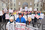 Pictured among the huge crowd at the septic tank protest at Kerry County Council on Tuesday were are Sheila Kevins (Currans), Jack Murphy (Kilflynn) and Rose Riordan (Currans).