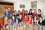 Staff from the HSE offices, Rathass, Tralee enjoying their Christmas party in Bella Bia restaurant, Ivy Terrace, Tralee last Friday night, present were (seated) L-R Annette Hendrixson, Claire O'Carroll, Mary Nolan, Kate Delaney, Denise O'Connell, Ailish Brosnan and Sinead Stynes (back) L-R Mary Lawless, Mike Mansfield, Margaret Galvin, Geraldine Walsh, Angela O'Connor, Rose Harty, KerryAnn Mooney and Lilly Horgan.