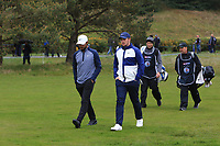 Shubhankar Sharma (IND) and Sam Horsfield (ENG) walk down the 4th during Round 1 of the Betfred British Masters 2019 at Hillside Golf Club, Southport, Lancashire, England. 09/05/19<br /> <br /> Picture: Thos Caffrey / Golffile<br /> <br /> All photos usage must carry mandatory copyright credit (© Golffile | Thos Caffrey)
