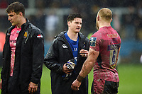 Freddie Burns of Bath Rugby speaks with Matt Kvesic of Exeter Chiefs after the match. Anglo-Welsh Cup Final, between Bath Rugby and Exeter Chiefs on March 30, 2018 at Kingsholm Stadium in Gloucester, England. Photo by: Patrick Khachfe / Onside Images