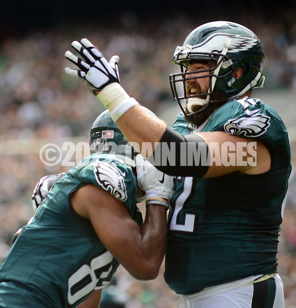 Philadelphia Eagles Jordan Matthews , left, and Jason Kielce celebrate a touchdown in the first quarter against the Cleveland Browns, September 11, 2016 at Lincoln Financial Field in Philadelphia, Pennsylvania.  (Photo by William Thomas Cain)