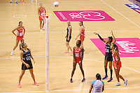 10.02.2017 Silver Ferns Maria Tutaia in action during the Silver Ferns v England Roses Vitality Netball International Series test match played at the Echo Arena in Liverpool. Mandatory Photo Credit © Paul Greenwood/Michael Bradley Photography.