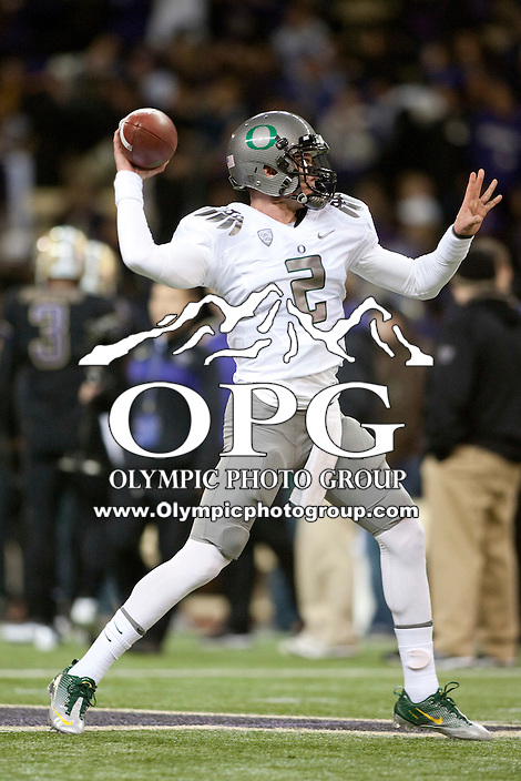 Nov  05, 2011:  Oregon's Bryan Bennett against Washington .  Oregon defeated Washington 34-17 at Husky Stadium in Seattle, Washington...