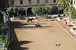 Raised angle view courtyard of equestrian centre, Caballerizas Reales de Cordoba, Royal Stables, Cordoba, Spain