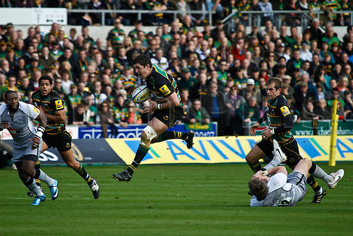 30.10.2010 Aviva Premiership Rugby Northampton Saints v Newcastle Falcons.  Northampton's James Downey on the attack.
