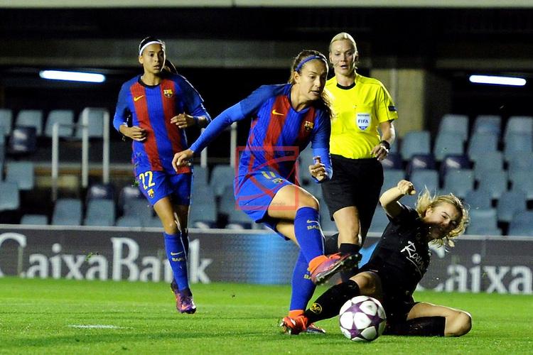 UEFA Women's Champions League 2016/2017.<br /> Round of 16 - First Leg<br /> FC Barcelona vs Twente: 1-0.<br /> Alexia Putellas vs Roetgering.