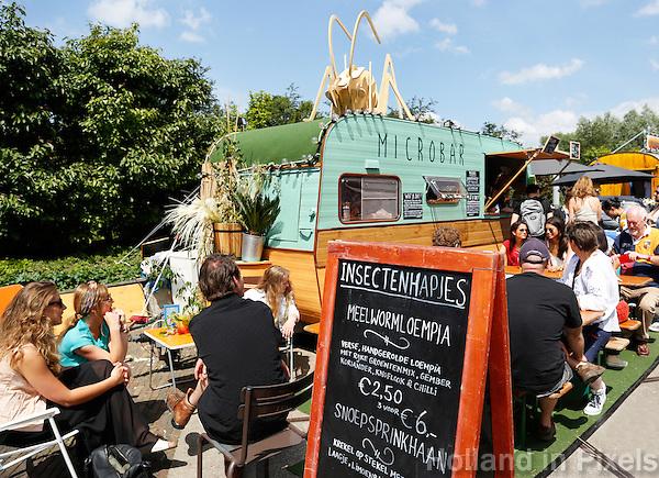 Festival in Amsterdam, De Rollende Keukens.  Rijdende keukens waar bijzondere snacks worden verkocht, zoals gefrituurde sprinkhanen of vegetarische gyros. Microbar