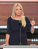 Attorney General Pam Bondi (Republican of Florida) makes remarks at the 2016 Republican National Convention held at the Quicken Loans Arena in Cleveland, Ohio on Wednesday, July 20, 2016.<br /> Credit: Ron Sachs / CNP<br /> (RESTRICTION: NO New York or New Jersey Newspapers or newspapers within a 75 mile radius of New York City)