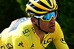 The peloton including Yellow Jersey Greg Van Avermaet (BEL) BMC Racing Team during Stage 4 of the 2018 Tour de France running 195km from La Baule to Sarzeau, France. 10th July 2018. <br /> Picture: ASO/Alex Broadway | Cyclefile<br /> All photos usage must carry mandatory copyright credit (&copy; Cyclefile | ASO/Alex Broadway)
