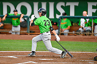 Jameson Fisher (23) of the Great Falls Voyagers follows through on his swing against the Ogden Raptors during the Pioneer League game at Lindquist Field on August 18, 2016 in Ogden, Utah. Ogden defeated Great Falls 10-6. (Stephen Smith/Four Seam Images)