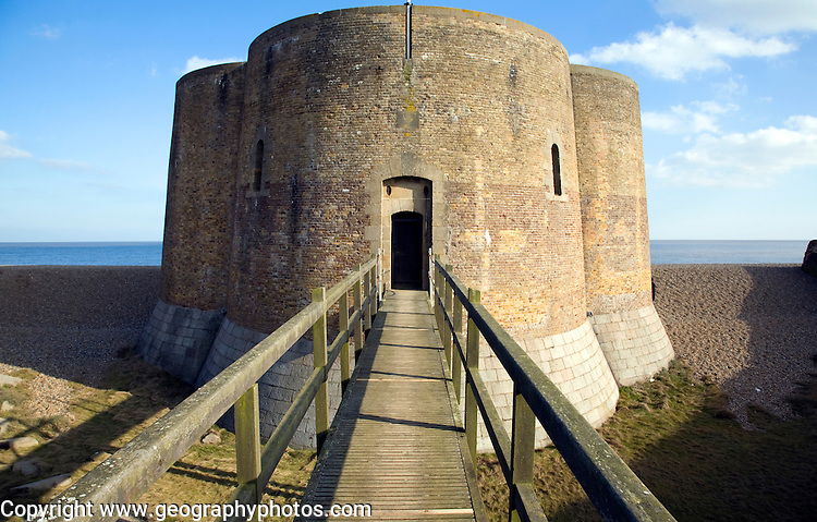 Quatrefoil Napoleonic war martello tower at Slaughden, Aldeburgh, Suffolk, England