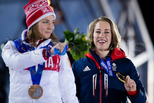 15.02.2014 Sochi, Krasnodar Krai, Russia.   Lizzy YARNOLD (GBR) proudly displaying her Gold medal during the Medal Ceremony for the Women's Skeleton at the Sochi Medals Plaza, Coastal Cluster - XXII Olympic Winter Games