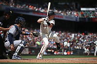 SAN FRANCISCO, CA - APRIL 27:  Buster Posey #28 of the San Francisco Giants bats against the New York Yankees during the game at Oracle Park on Saturday, April 27, 2019 in San Francisco, California. (Photo by Brad Mangin)