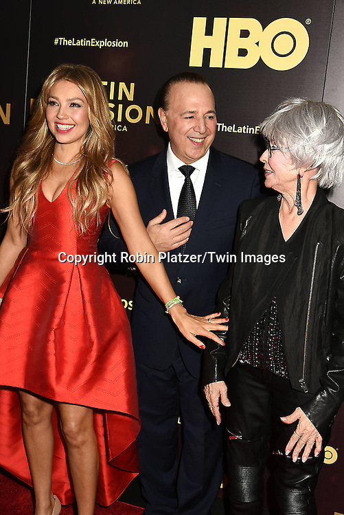 Thalia,  husband Tommy Mottola and Rita Moreno attend the HBO premiere of &quot;The Latin Explosion: A New America&quot; on November 10, 2015 at the Hudson Theater in New York City, New York, USA.<br /> <br /> photo by Robin Platzer/Twin Images<br />  <br /> phone number 212-935-0770