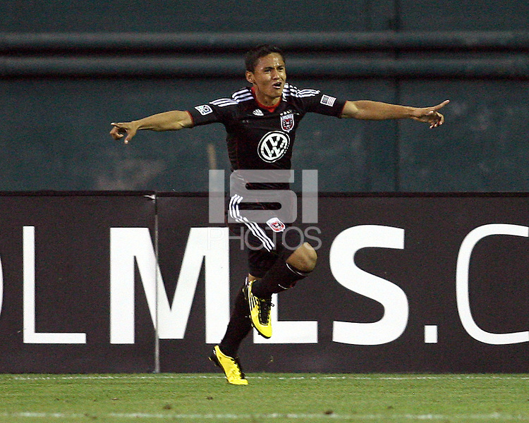 Andy Najar #14 of D.C. United after scoring the winning goal during an Open Cup match against Real Salt Lake at RFK Stadium, on June 2 2010 in Washington DC. DC United won 2-1.