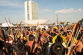 Indigenous warriors gather at a demonstration in Brasilia, Brazil by the Xicrin, Kayapo and Pataxo tribes, 10th November 2015. Photo © Sue Cunningham, pictures@scphotographic.com