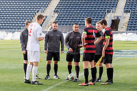 Chester, PA - Sunday December 10, 2017: Coin toss, referees, Trey Muse, Tomas Hilliard-Arce, . Stanford University defeated Indiana University 1-0 in double overtime during the NCAA 2017 Men's College Cup championship match at Talen Energy Stadium.