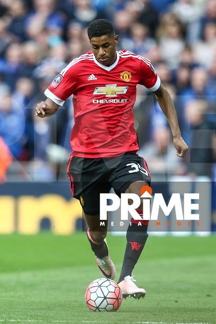 Marcus Rashford of Manchester United during the FA Cup Semi-Final match between Everton and Manchester United at Wembley Stadium, London, England on 23 April 2016. Photo by David Horn / PRiME Media Images.