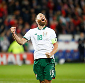 9th October 2017, Cardiff City Stadium, Cardiff, Wales; FIFA World Cup Qualification, Wales versus Republic of Ireland; Republic of Ireland captain David Meyler celebrates at full time