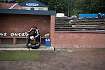Harestanes AFC v Girvan FC, 15/08/2015. Scottish Cup preliminary round, Duncansfield Park. Home manager Paul Marshall pumping up footballs in the dugout before Harestanes AFC take on Girvan FC in a Scottish Cup preliminary round tie, staged at Duncansfield Park, home of Kilsyth Rangers. The home team were the first winners of the Scottish Amateur Cup to be admitted directly into the Scottish Cup in the modern era, whilst the visitors participated as a result of being members of both the Scottish Football Association and the Scottish Junior Football Association. Girvan won the match by 3-0, watched by a crowd of 300, which was moved from Harestanes ground as it did not comply with Scottish Cup standards. Photo by Colin McPherson.