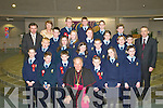 Students from St Olivers National School, Killarney, who received their Confirmation from Bishop Bill Murphy in The Church of the Resurrection, Killarney, on Friday, with their teacher Mrs Hughes, Principal Mr. Darcy and Deputy Principal Mr Horgan..