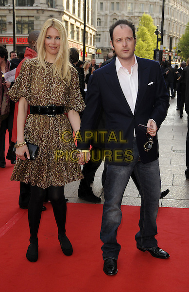 "CLAUDIA SCHIFFER & MATTHEW VAUGHAN .World Premiere of ""Flashbacks of a Fool"" at the Empire, Leicester Square, London, England..April 13th 2008.full length blue jacket couple husband wife brown leopard print dress black belt tights flats flat shoes jeans denim holding hands .CAP/CAN.©Can Nguyen/Capital Pictures"