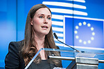 BRUSSELS - BELGIUM - 13 December 2019 -- EU-Summit with Heads of State - European Council meeting - Presidency of Finland. -- Sanna Marin, Prime Minister of Finland during to the press conference  -- PHOTO: Juha ROININEN / EUP-IMAGES